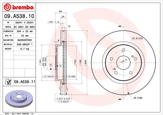 SUZUKI GRAND VITARA 2020 Scheibenbremsen - Original BREMBO 09.A538.11 Ø: 294mm, Lochanzahl: 5, Bremsscheibendicke: 25mm