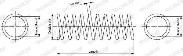 MONROE: Original Feder SP3938 (Länge: 328mm, Länge: 328mm, Ø: 135mm)