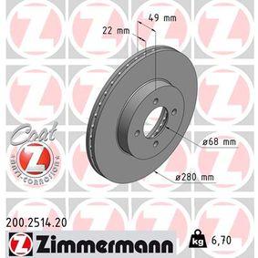 200.2514.20 ZIMMERMANN COAT Z Innenbelüftet, beschichtet Ø: 280mm Bremsscheibe 200.2514.20 günstig kaufen