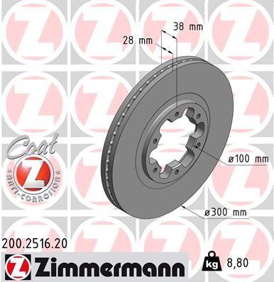 NISSAN NP300 PICKUP 2014 Scheibenbremsen - Original ZIMMERMANN 200.2516.20 Ø: 300mm, Felge: 6-loch, Bremsscheibendicke: 28mm