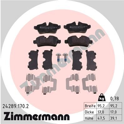 ZIMMERMANN Bremsbelagsatz, Scheibenbremse 24289.170.2