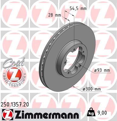 ZIMMERMANN Спирачен диск 250.1357.20
