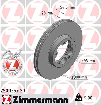 Купете 250.1357.20 ZIMMERMANN COAT Z вътрешновентилиран, с покритие Ø: 300мм, джанта: 5-дупки, дебелина на спирачния диск: 28мм Спирачен диск 250.1357.20 евтино