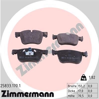 ZIMMERMANN Bremsbelagsatz, Scheibenbremse 25833.170.1