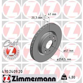 470.2409.20 ZIMMERMANN COAT Z Innenbelüftet, beschichtet Ø: 259mm Bremsscheibe 470.2409.20 günstig kaufen