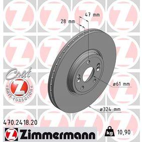 470.2418.20 ZIMMERMANN COAT Z außenbelüftet, beschichtet, hochgekohlt Ø: 324mm Bremsscheibe 470.2418.20 günstig kaufen