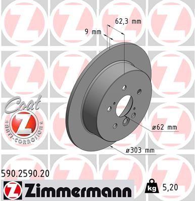 ZIMMERMANN: Original Bremsscheiben 590.2590.20 (Ø: 303mm, Felge: 5-loch, Bremsscheibendicke: 9mm)