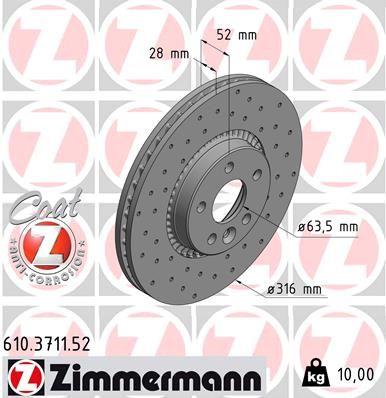 Buy original Brake disc kit ZIMMERMANN 610.3711.52
