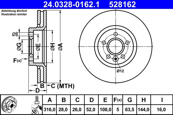24.0328-0162.1 ATE Stabdžių diskas - įsigyti internetu