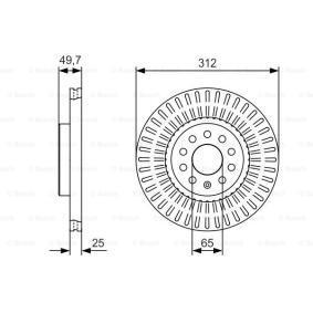 BD2168 BOSCH ventilado, revestido, altamente carbonizado Ø: 312mm, Núm. orificios: 5, Espesor disco freno: 25mm Disco de freno 0 986 479 C29 a buen precio
