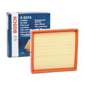 S0374 BOSCH Filtereinsatz Länge: 230mm, Breite: 205mm, Höhe: 64mm Luftfilter F 026 400 374 günstig kaufen