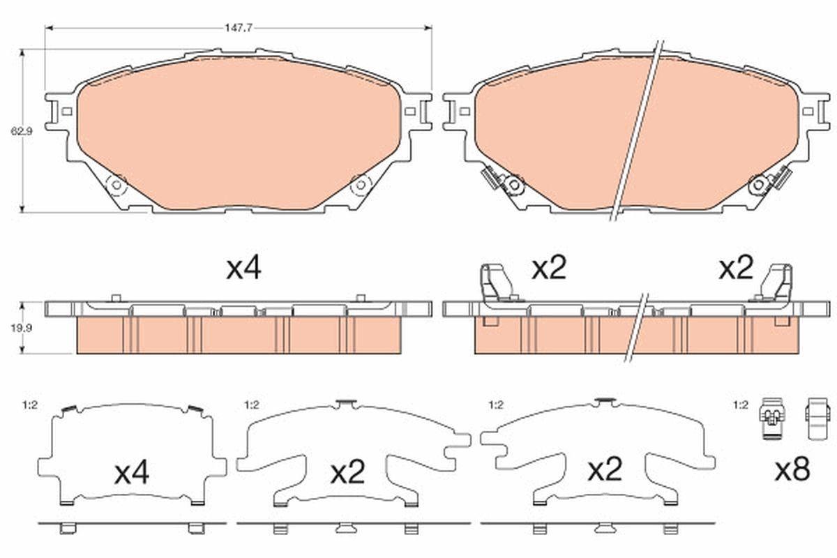TRW Bremsbelagsatz, Scheibenbremse für MITSUBISHI - Artikelnummer: GDB3611