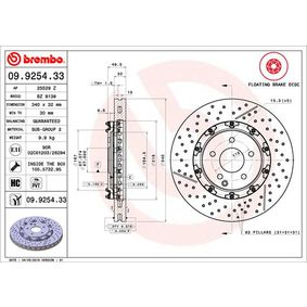 09.9254.33 BREMBO TWO-PIECE FLOATING DISCS LINE Internally Vented, Slotted / Perforated, Two-piece Brake Disc, Coated, High-carbon, with screws Ø: 340mm, Num. of holes: 5, Brake Disc Thickness: 32mm Brake Disc 09.9254.33 cheap