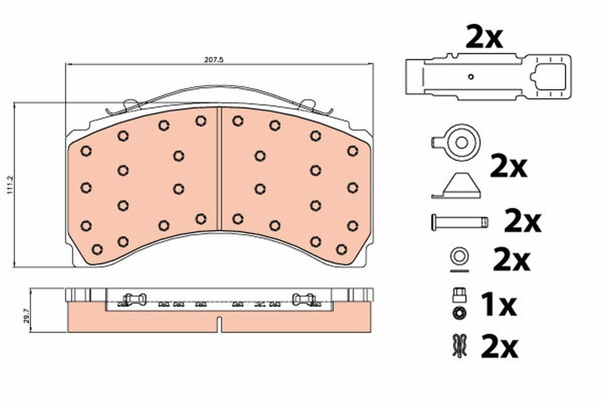 GDB5116 TRW Bremsbelagsatz, Scheibenbremse für MERCEDES-BENZ ECONIC 2 jetzt kaufen