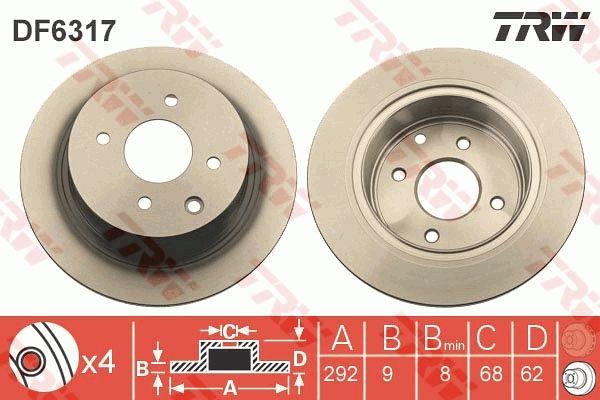 NISSAN VERSA 2015 Tuning - Original TRW DF6317 Ø: 292mm, Lochanzahl: 4, Bremsscheibendicke: 9mm