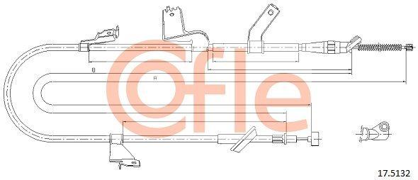 COFLE: Original Handbremse 17.5132 (Länge: 1625/1395mm)