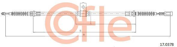 92170378 COFLE hinten, rechts Länge: 896/740mm Seilzug, Feststellbremse 17.0378 günstig kaufen
