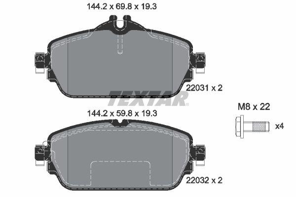 MERCEDES-BENZ B-Klasse 2019 Scheibenbremsbeläge - Original TEXTAR 2203102 Höhe 1: 69,8mm, Höhe 2: 59,9mm, Breite: 144,2mm, Dicke/Stärke: 19,3mm