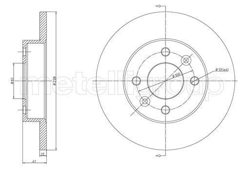 23-0082 METELLI Voll Ø: 238,0mm, Lochanzahl: 4, Bremsscheibendicke: 12,0mm Bremsscheibe 23-0082 günstig kaufen
