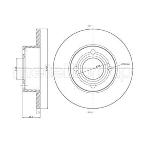 23-0233 METELLI Solid Ø: 256,0mm, Hålant.: 4, Bromsskivetjocklek: 13,0mm Bromsskiva 23-0233 köp lågt pris