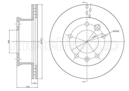Achat de 23-0418 METELLI ventilé Ø: 276,0mm, Nbre de trous: 5, Épaisseur du disque de frein: 22,0mm Disque de frein 23-0418 pas chères