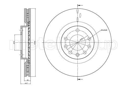 23-0860C METELLI belüftet Ø: 305,0mm, Lochanzahl: 5, Bremsscheibendicke: 28,0mm Bremsscheibe 23-0860C günstig kaufen