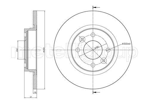 23-0864C METELLI Voll, lackiert Ø: 259,0mm, Lochanzahl: 4, Bremsscheibendicke: 12,0mm Bremsscheibe 23-0864C günstig kaufen