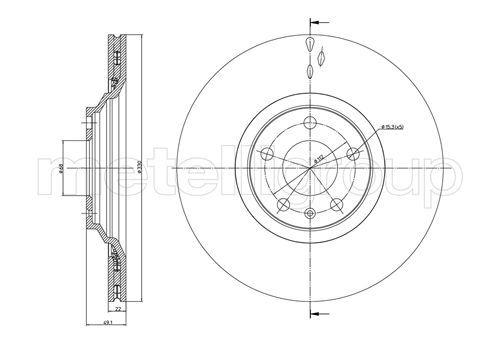 23-0866C METELLI belüftet Ø: 330,0mm, Lochanzahl: 5, Bremsscheibendicke: 22,0mm Bremsscheibe 23-0866C günstig kaufen