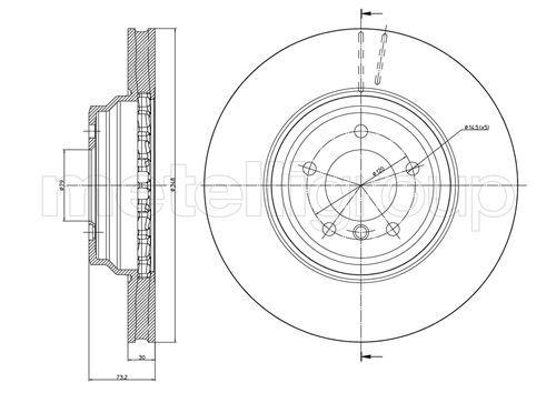 23-0874C METELLI belüftet Ø: 348,0mm, Lochanzahl: 5, Bremsscheibendicke: 30,0mm Bremsscheibe 23-0874C günstig kaufen