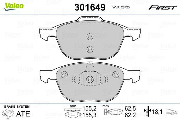 Brake pad set 301649 VALEO — only new parts
