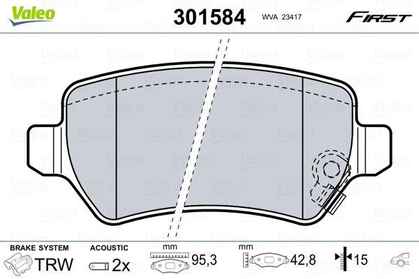 301584 Bremssteine VALEO in Original Qualität
