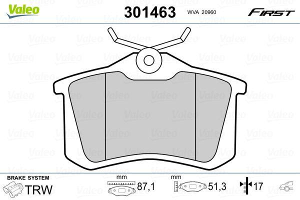 Stabdžių trinkelių rinkinys, diskinis stabdys 301463 VALEO — tik naujos dalys