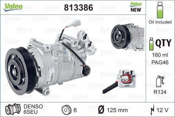 VALEO: Original Kompressor 813386 (Riemenscheiben-Ø: 125mm, Anzahl der Rillen: 6)