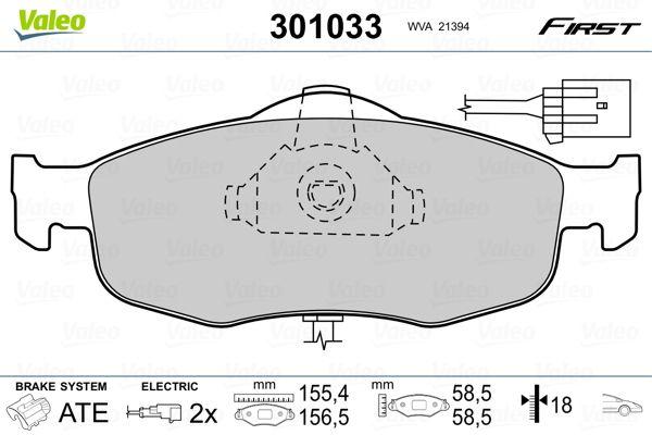 Bremsbelagsatz Scheibenbremse VALEO 301033
