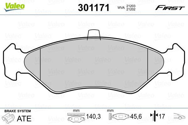 Bremsbelagsatz FORD Fiesta Mk4 (J3S, J5S) hinten + vorne 2014 - VALEO 301171 (Höhe: 44,9mm, Breite: 141,5mm, Dicke/Stärke: 17mm)