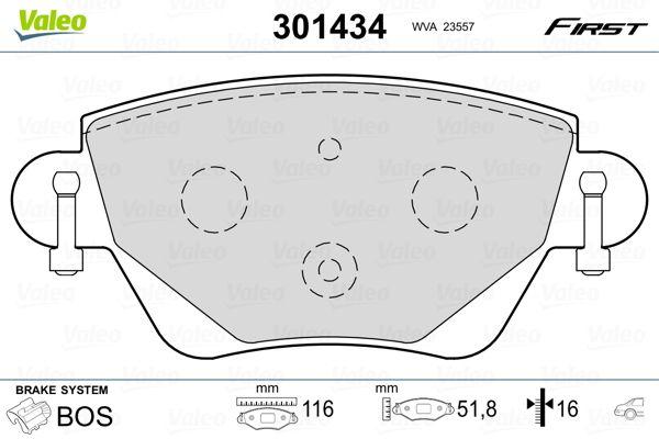 Bremssteine Ford Mondeo Mk3 hinten + vorne 2004 - VALEO 301434 (Höhe: 51,8mm, Breite: 116mm, Dicke/Stärke: 16mm)