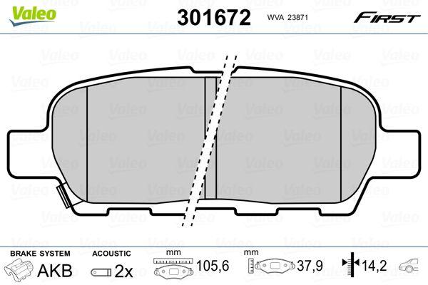 Buy original Disk brake pads VALEO 301672