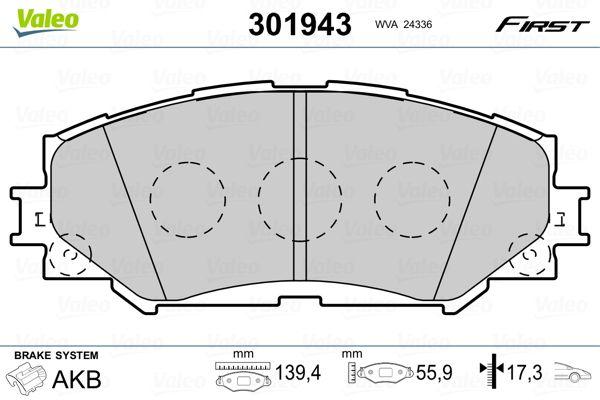 SUBARU TREZIA 2014 Bremsbelagsatz - Original VALEO 301943 Höhe: 55,9mm, Breite: 139,4mm, Dicke/Stärke: 17,3mm