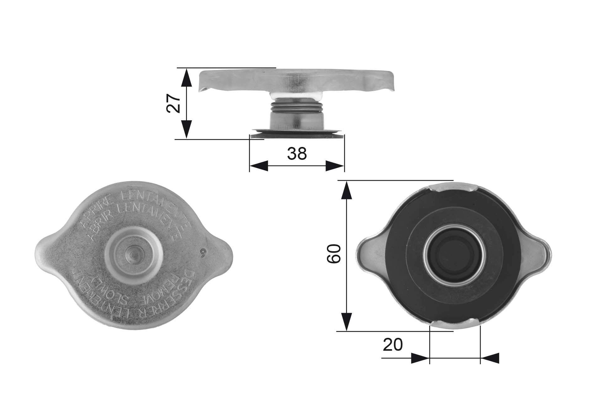OE Original Verschlußdeckel Kühler RC114 GATES