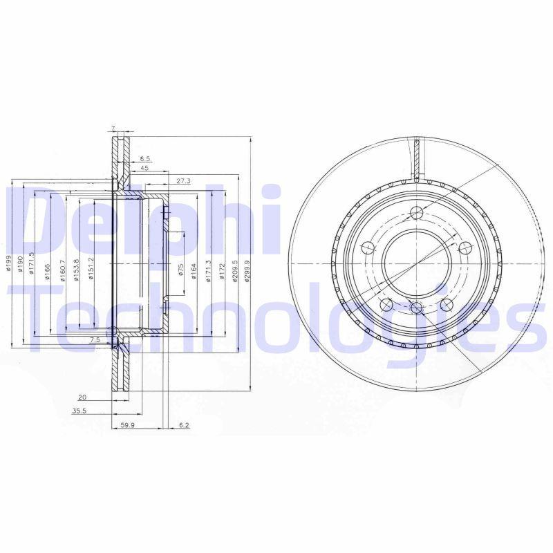 BG3901C DELPHI ventilado, sin procesar Ø: 300mm, Espesor disco freno: 20mm Disco de freno BG3901C a buen precio