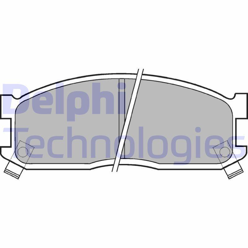 KIA BESTA 1996 Bremsbelagsatz - Original DELPHI LP530 Höhe 2: 52mm, Höhe: 52mm, Dicke/Stärke 1: 14mm, Dicke/Stärke 2: 14mm
