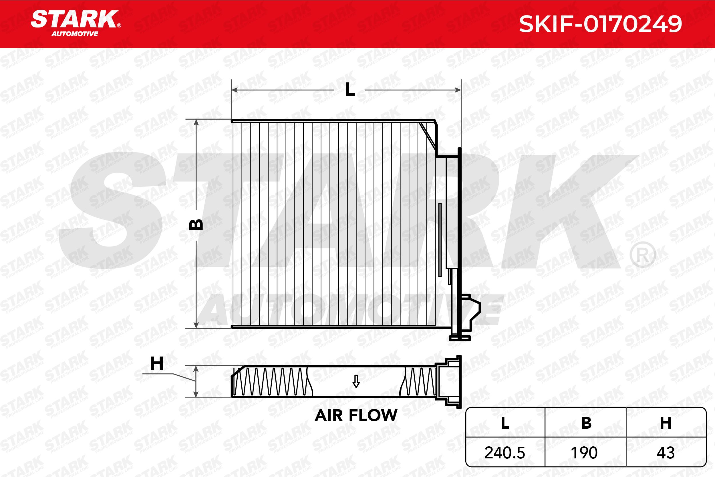 Achetez Filtre d'habitacle STARK SKIF-0170249 (Largeur: 190.0mm, Hauteur: 43.0mm) à un rapport qualité-prix exceptionnel