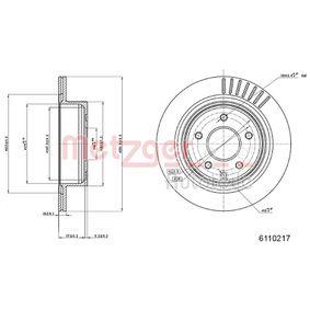 6110217 METZGER COATED Innenbelüftet, beschichtet Ø: 291,8mm, Lochanzahl: 5, Bremsscheibendicke: 16mm Bremsscheibe 6110217 günstig kaufen
