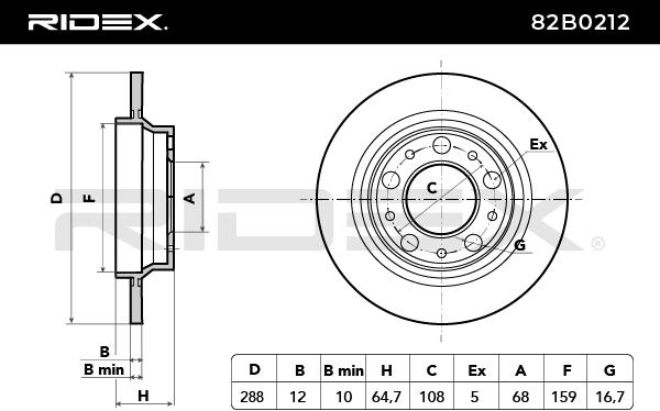 82B0212 Bremsscheiben RIDEX 82B0212 - Große Auswahl - stark reduziert