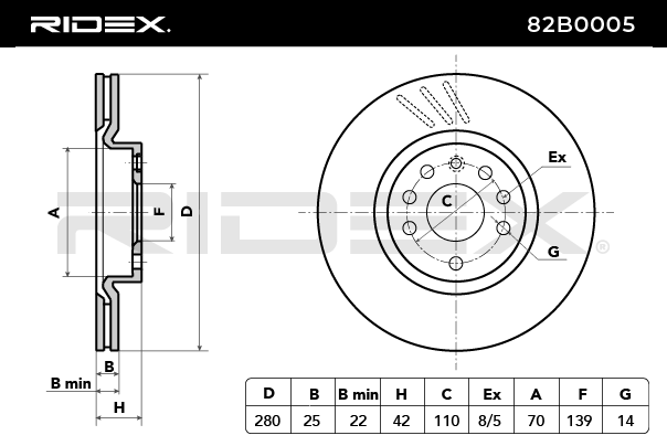 Disque de frein 82B0005 RIDEX — seulement des pièces neuves
