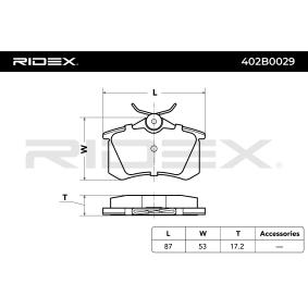 402B0029 Bremsbelagsatz, Scheibenbremse RIDEX 402B0029 - Große Auswahl - stark reduziert