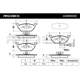 402B0033 Bremsbelagsatz, Scheibenbremse RIDEX 402B0033 - Große Auswahl - stark reduziert