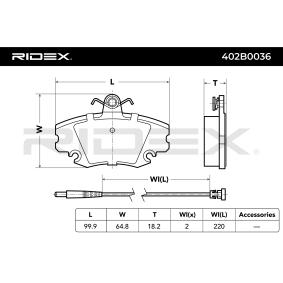 402B0036 Bremsbelagsatz, Scheibenbremse RIDEX 402B0036 - Große Auswahl - stark reduziert