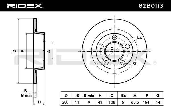 82B0113 Bremsscheiben RIDEX 82B0113 - Große Auswahl - stark reduziert