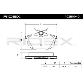 402B0040 Bremsbeläge RIDEX 402B0040 - Große Auswahl - stark reduziert